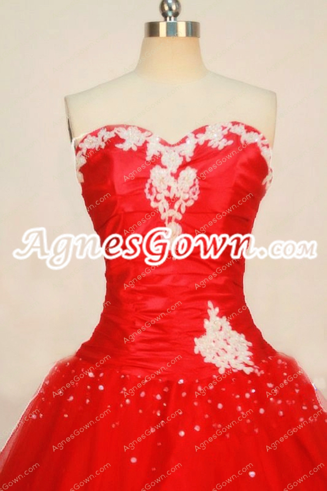 Simple Red Sweet 15 Dress With White Appliques