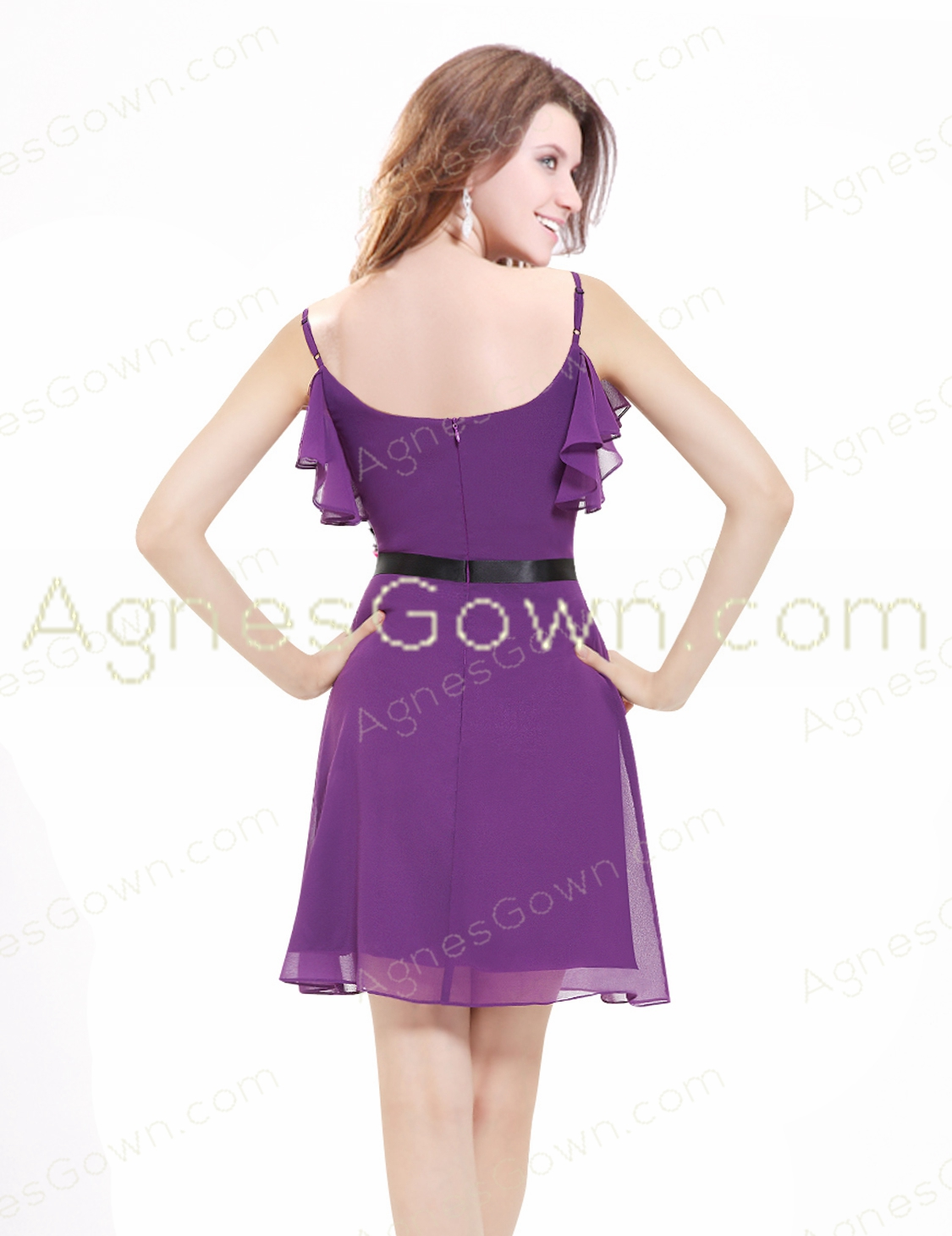 Spaghetti Straps Purple Cocktail Dress Mini Length