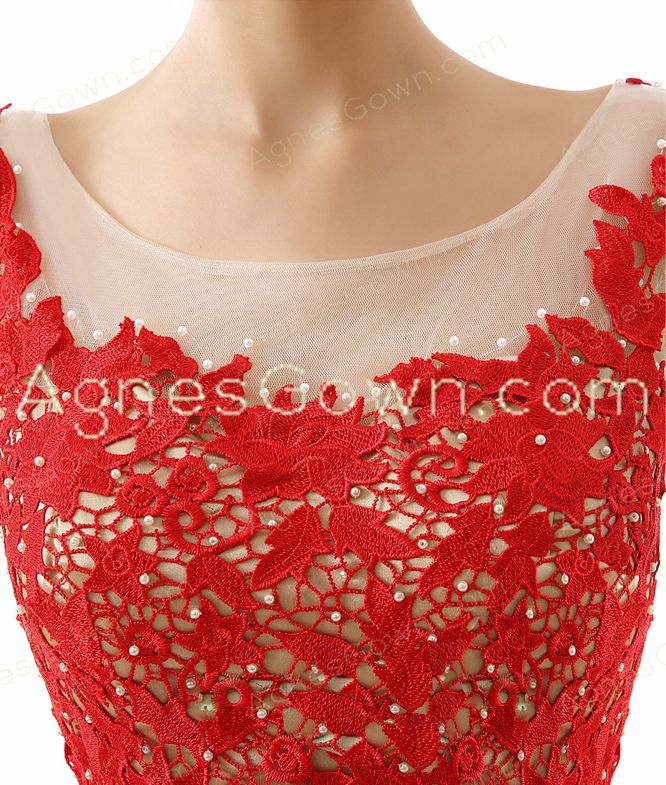 Square Neckline Puffy Short Red Prom Dress With Lace