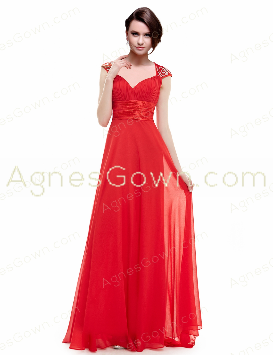 Straps A-line Full Length Red Prom Gown Dress