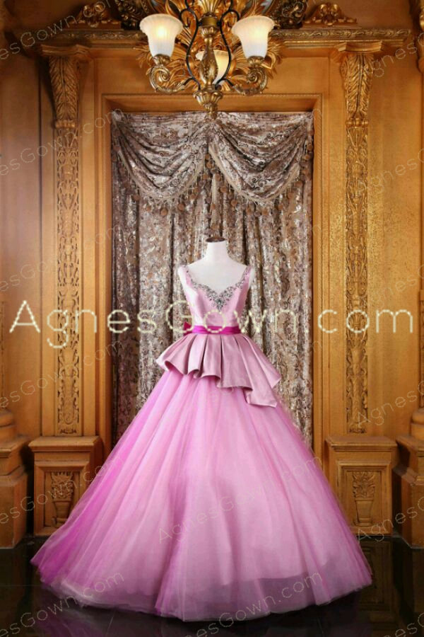 Straps Pink Quinceanera Dress With Fuchsia Sash