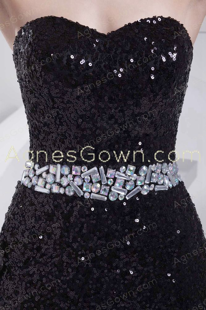 Stylish Black Sparkled Formal Evening Dress