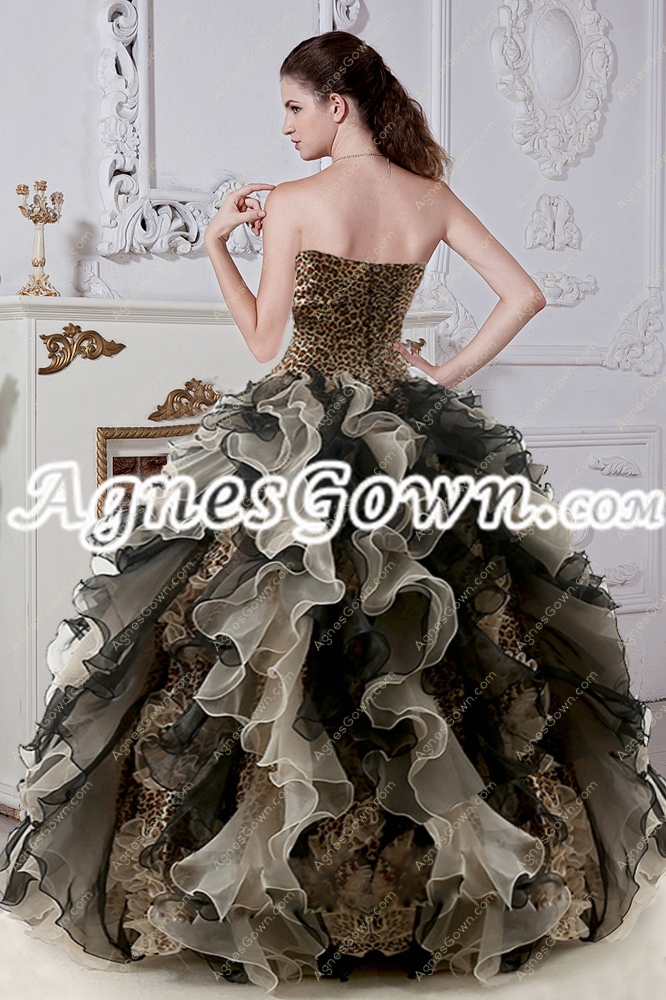 Stylish Leopard Quinceanera Dress With Ruffled Skirt