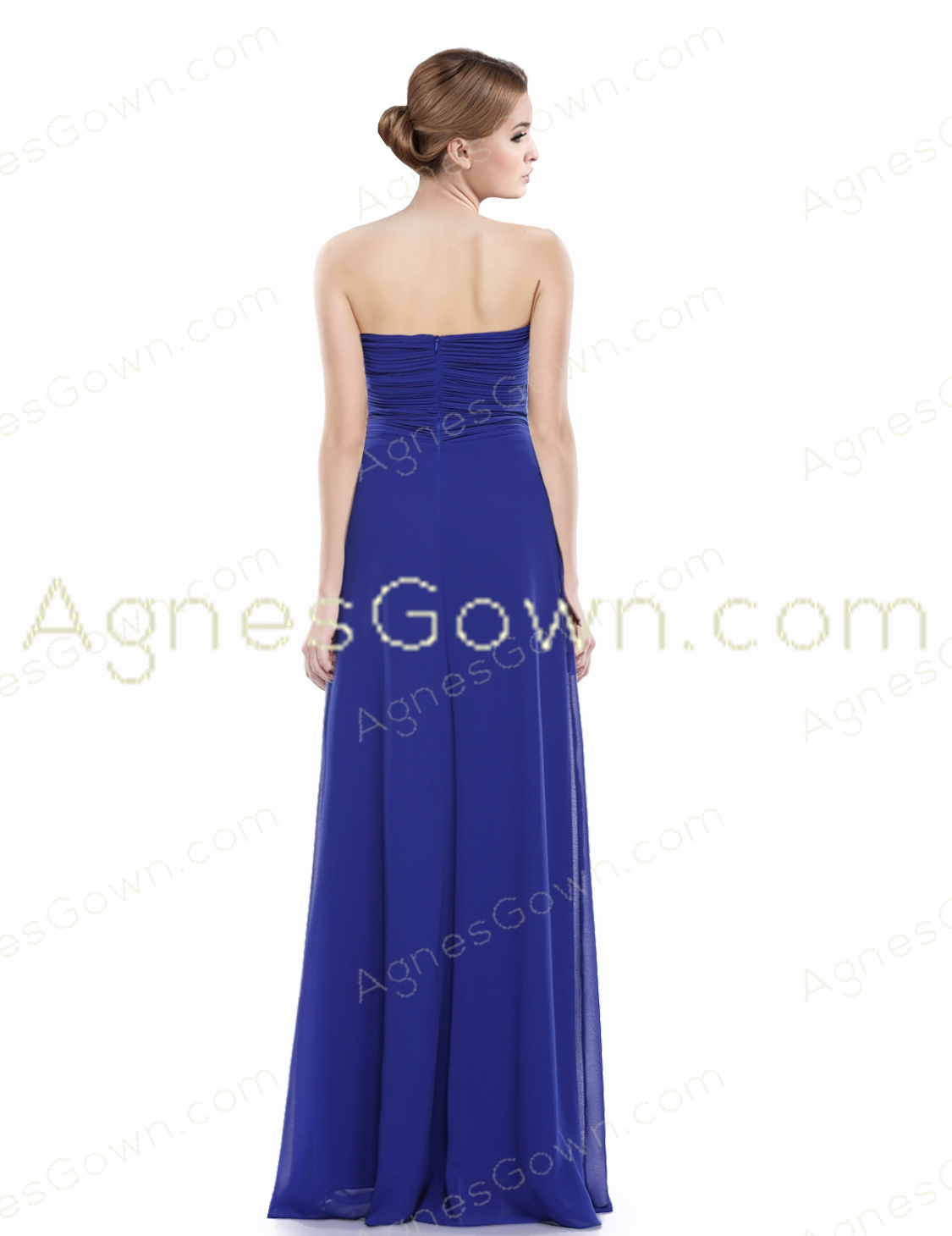 Top Halter Royal Blue Chiffon Long Prom Dress