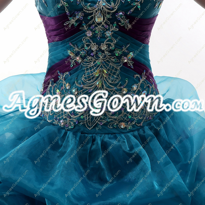 Unique Teal And Purple Organza Quince Dress