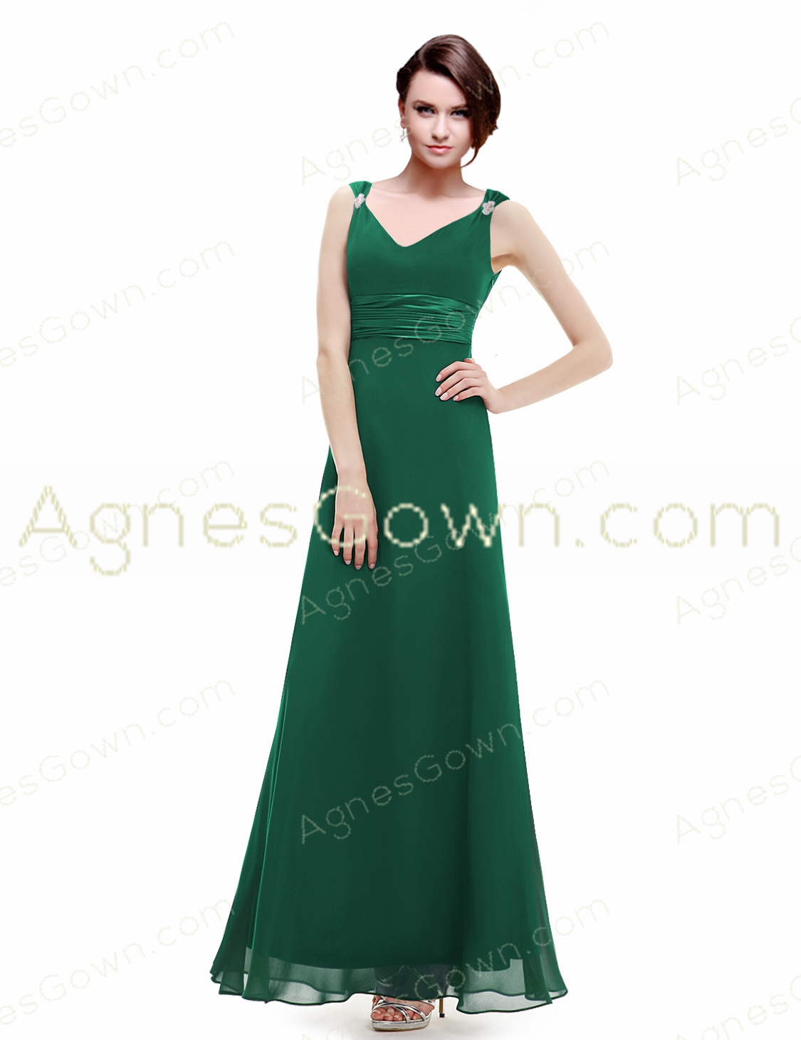 V-Neckline Straps Ankle Length Prom Party Dress