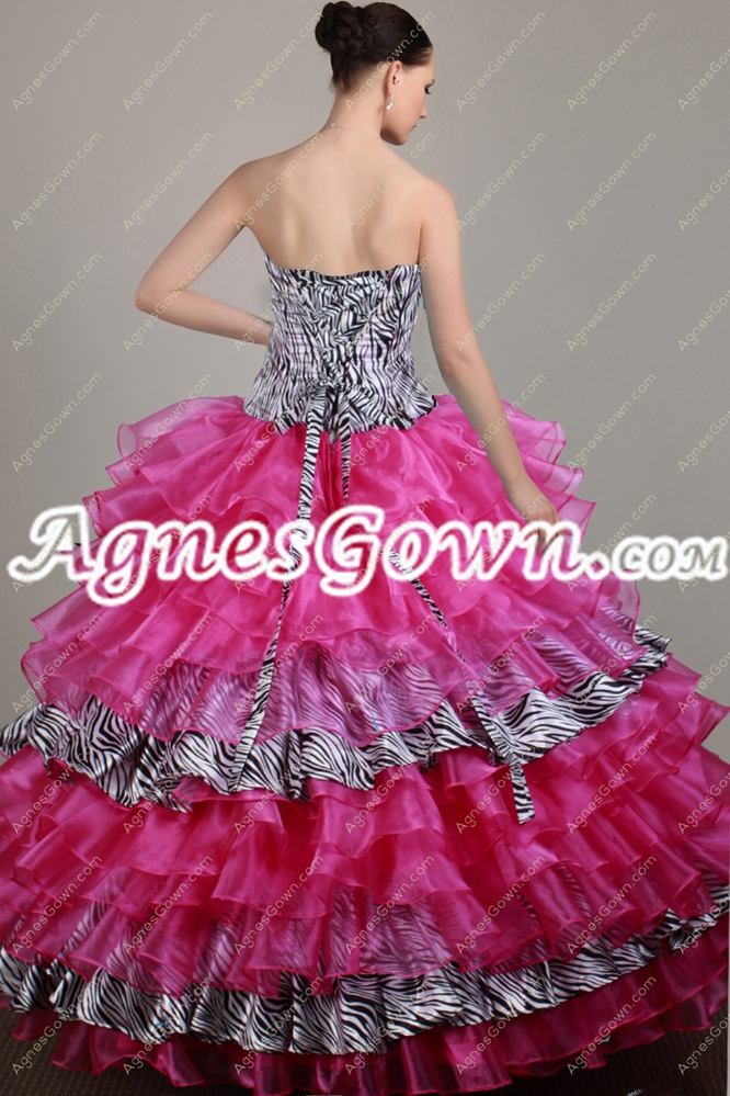 Zebra And Fuchsia Sweet 15 Dress