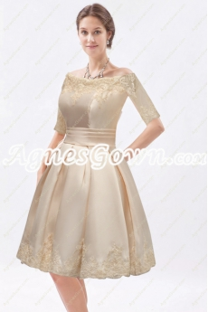1/2 Sleeves Knee Length Champagne Mother Of The Groom Dress
