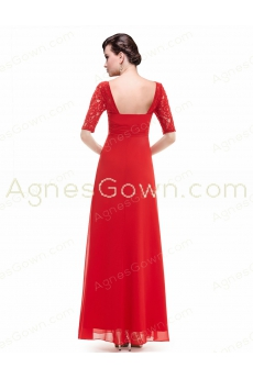 1/2 Sleeves Red Mother Of The Groom Dress With Lace