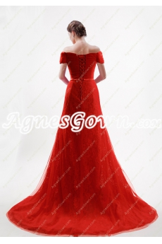 2017 Off The Shoulder A-line Red Wedding Dress