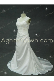 A-line Satin Wedding Dress With Lace