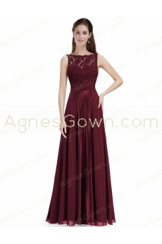 Bateau Neckline Burgundy Sleeveless Engagement Dress