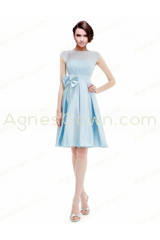 Bateau Neckline Knee Length Light Blue Bridesmaid Dress