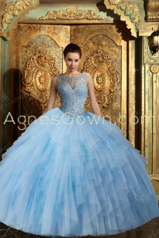 Bateau Neckline Sky Blue Quinceanera Dress Keyhole Back