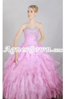 Beautiful Sweetheart Pink Organza Ball Gown Quinceanera Dress