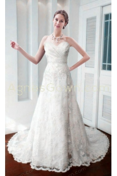 Exquisite A-line Ivory Lace Wedding Dress
