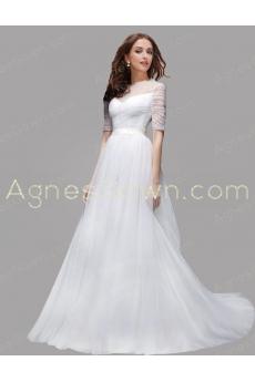 Half Sleeves Jewel Neckline 2016 Wedding Dress With Pearls