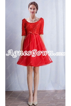 Half Sleeves Scoop Neckline Short Graduation Dress With Lace