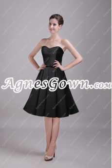 Knee Length Black Satin Short Prom Dress With Sash
