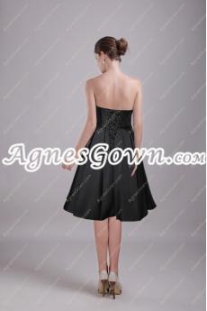 Knee Length Black Satin Short Prom Dress With Sash