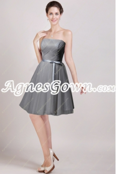 Mini Length Silver Grey Homecoming Dress With Sash