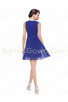 Short Length Royal Blue Chiffon Junior Prom Dress