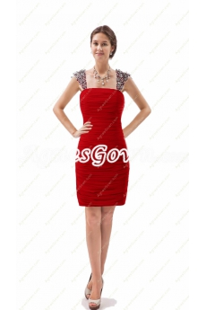 Short Length Sheath Red Cocktail Dress With Beads