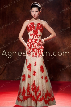 Special Champagne Mermaid Lace Prom Dress With Red Lace
