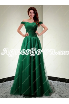 Stunning Off The Shoulder Hunter Green Prom Dress