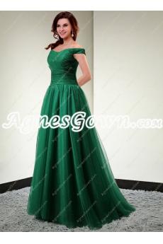 Stunning Off The Shoulder Hunter Green Prom Dress