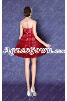 Stylish Jewel Neckline Tutu Homecoming Dress With Sash