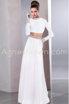 Two Pieces Long Sleeves Chiffon Wedding Dress