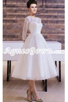 Vintage 1950s Lace Wedding Dress 3/4 Sleeves