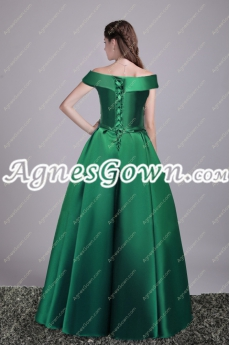Vintage Off Shoulder Hunter Green Military Prom Dress