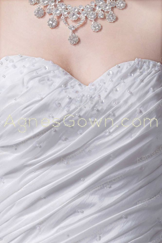 2016 Simple A-line Taffeta Wedding Dress With Beads