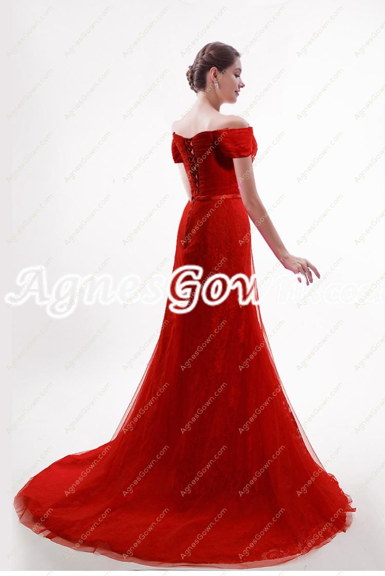 2017 Off The Shoulder A-line Red Wedding Dress