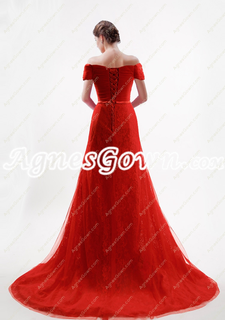lace wedding dresses 2017 off the shoulder a line red