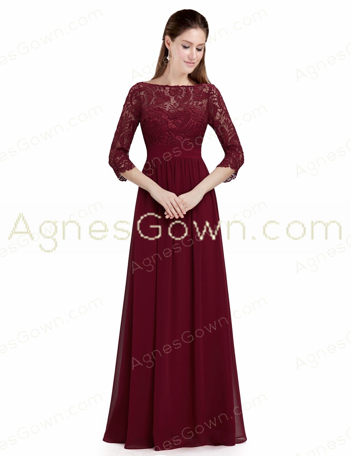 3/4 Sleeves Burgundy Lace Mother Of The Bride Dress