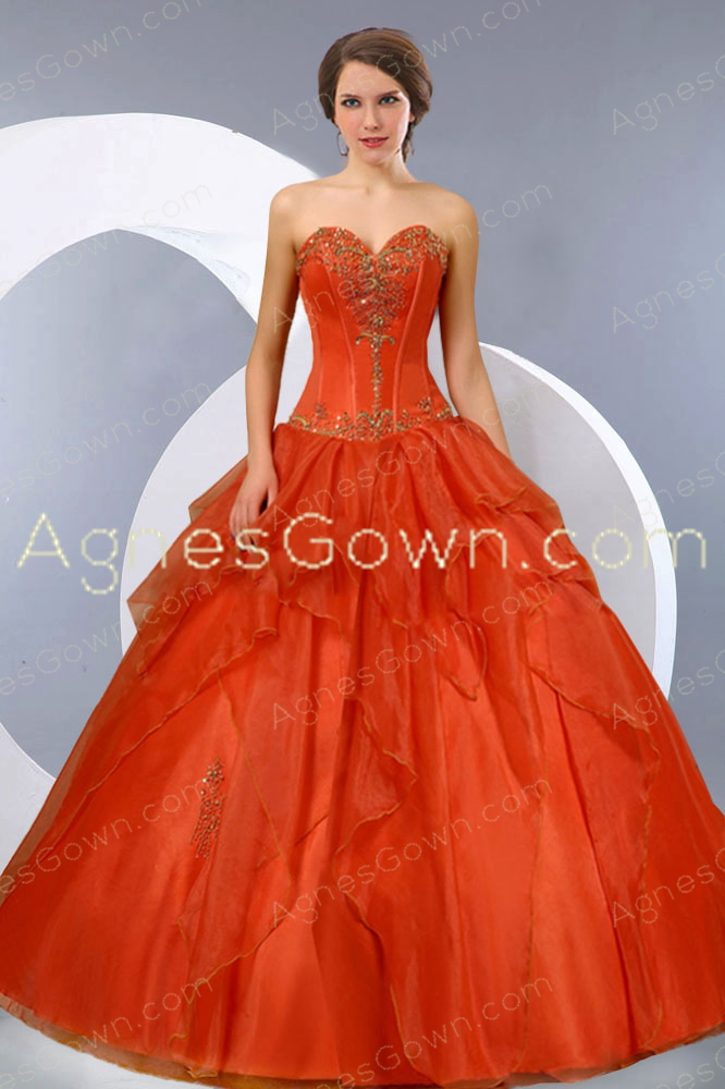 Basque Waist Burnt Orange Organza Quinceanera Dress