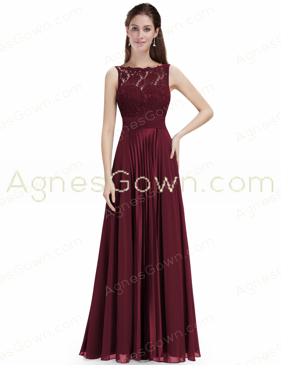 Bateau Neckline Burgundy Sleeveless Engagement Dress