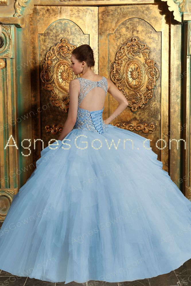 Bateau Neckline Sky Blue Quinceanera Dress Keyhole Back
