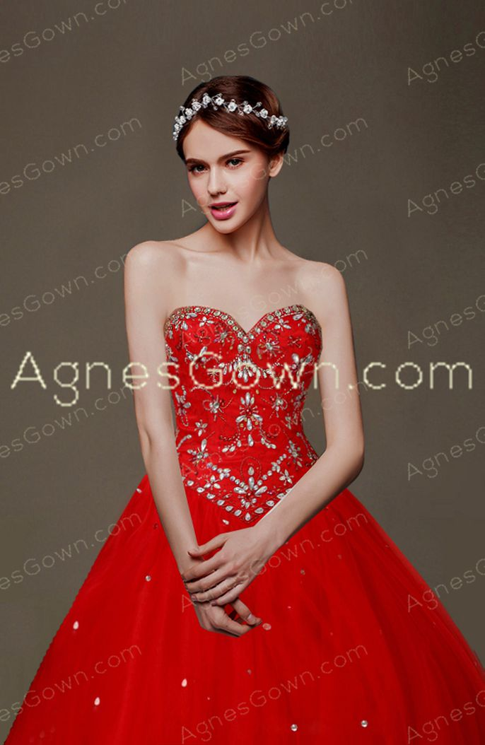 Cute Red Princess Quinceanera Dress With Diamonds