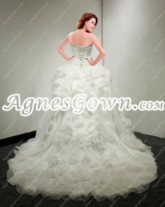 Exquisite Ruffled Organza Ivory Wedding Dress