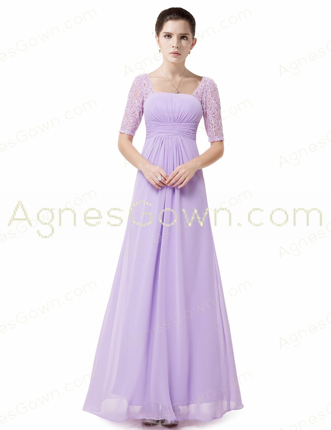 Half Sleeves Lilac Chiffon Mother Of The Bride Dress With Lace