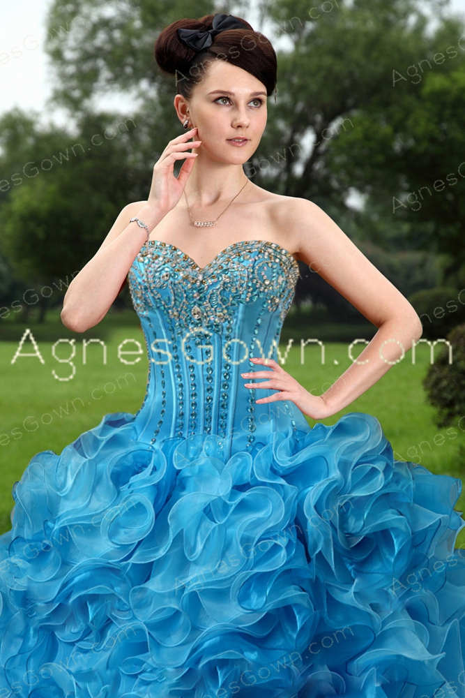 Modern Blue Organza Ball Gown Quinceanera Dress With Diamonds