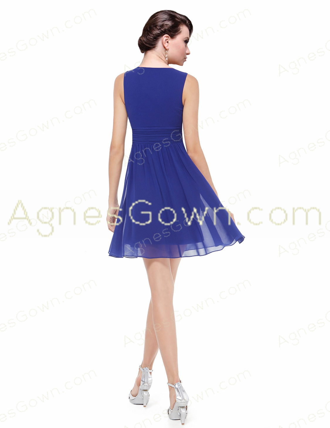 Short Length Royal Blue Chiffon Junior Prom Dress