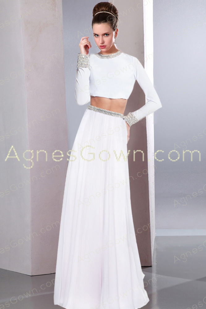 Two Pieces Long Sleeves Chiffon Wedding Dress
