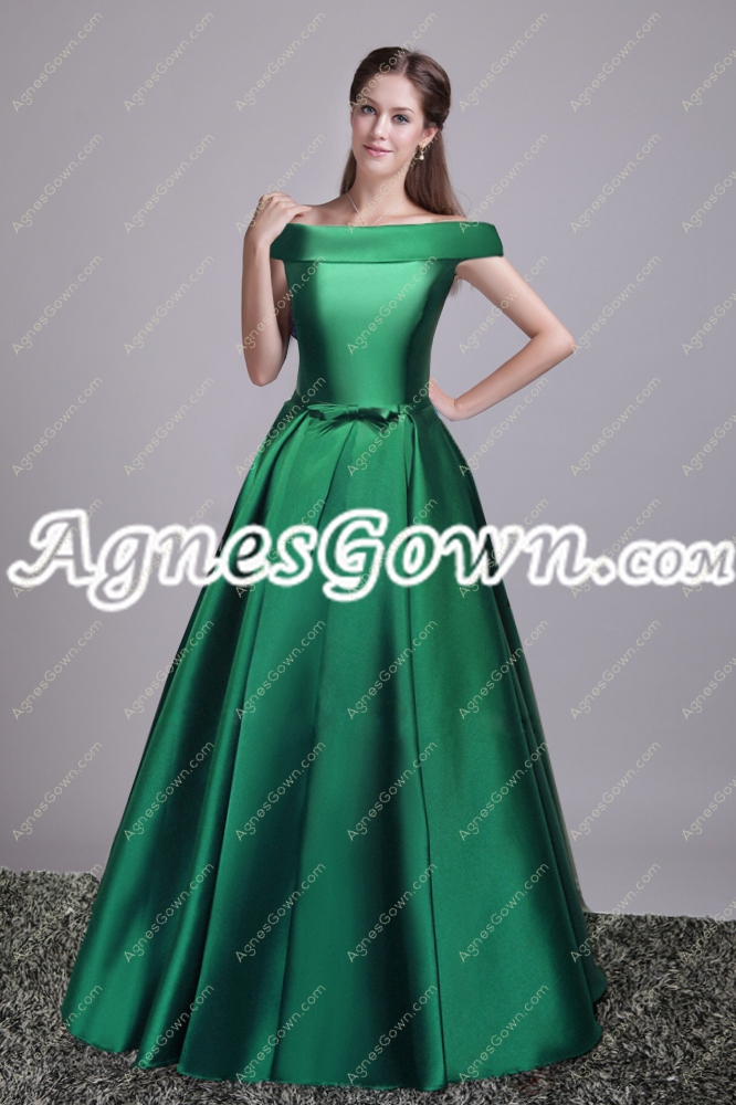 Vintage Off Shoulder Hunter Green Military Prom Dress