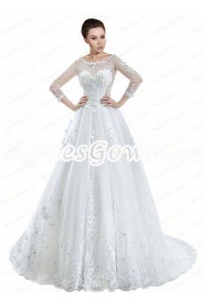 3/4 Sleeves Scoop Neckline Princess Wedding Dress