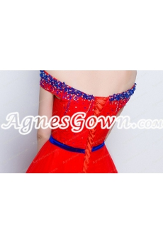 Attractive Off Shoulder Red Wedding Dress With Royal Blue Handworks